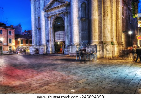 small square in Venice on a clear night - stock photo
