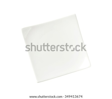 Small square white porcelain plate - stock photo