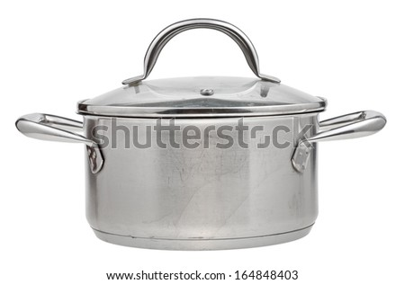 small stainless steel saucepan covered by glass lid isolated on white background
