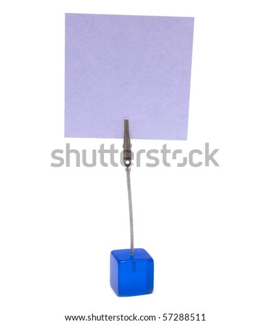 small stand with blank business card - stock photo