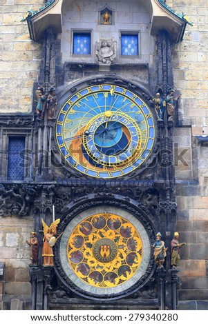 Small statues decorating colorful dials of the Astronomical Clock, Prague, Czech Republic - stock photo