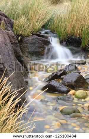 Small stream waterfall between vegetation and rocks - stock photo