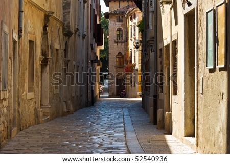 Small street in the historical center of Porec in Croatia
