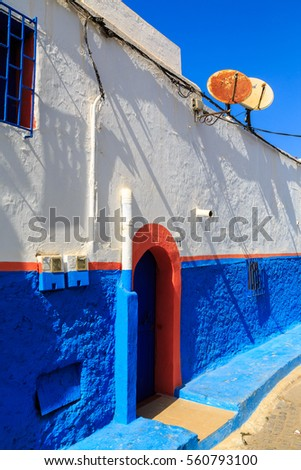 Small streets in blue and white in the kasbah of the old city Rabat in Marocco on a sunny day