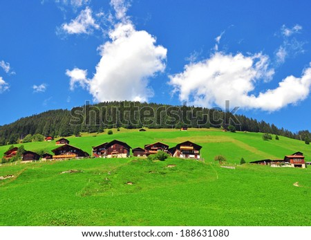 Small swiss village in bernese Alps - stock photo