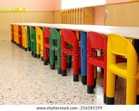 small tables colourful chairs refectory school stock photo royalty