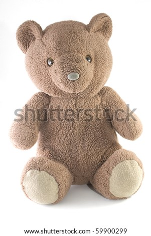 small teddy bear over white background - stock photo