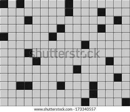 Small tiles mosaic with black and white colors