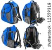 Small tourist or school backpack set - from four sides (blue) - stock photo