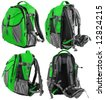 Small tourist or school backpack set - from four sides (green) - stock photo