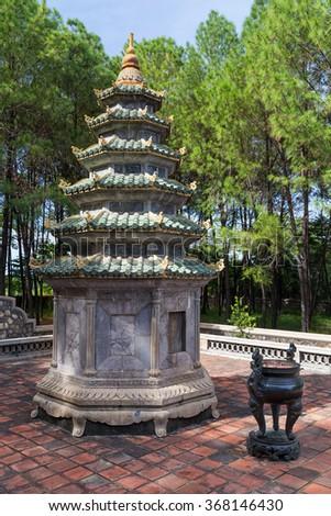 Small tower near Thien Mu Pagoda in Hue, Vietnam - stock photo