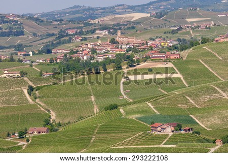 Small town and green vineyards of Piedmont, Northern Italy. - stock photo