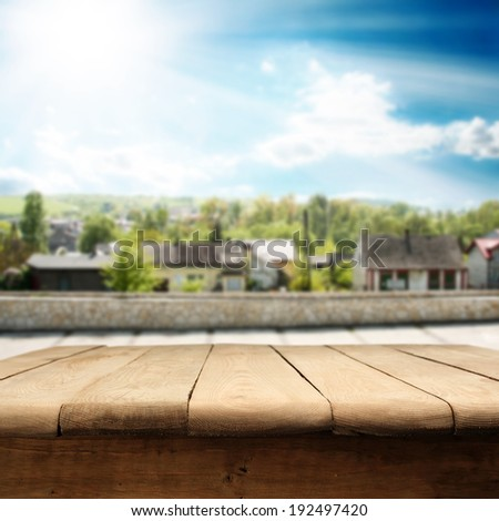 small town and table  - stock photo