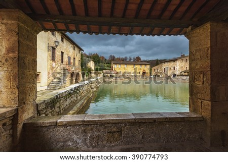 Small town famous for its hot water springs in Tuscany, Bagno Vignoni.