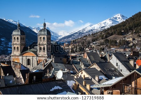 Small town in Alpes - stock photo