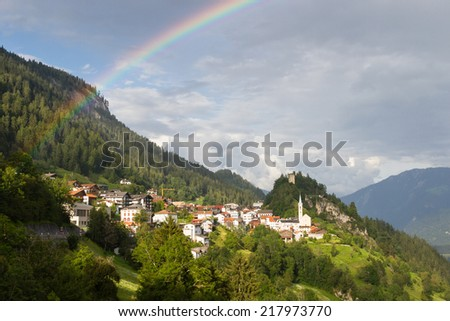 Small town in Graubunden canton, Switzerland - stock photo