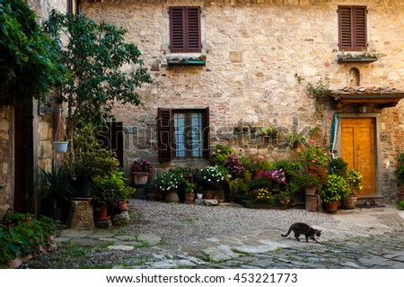 Small town Montefioralle in Tuscany, Italy