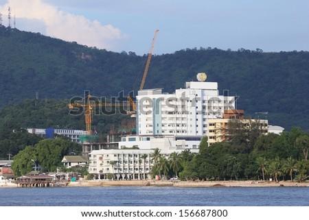Small town near the coast at Srirasha,Thailand - stock photo