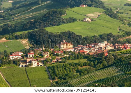 Small town of Barolo among green hills in Piedmont, Northern Italy.