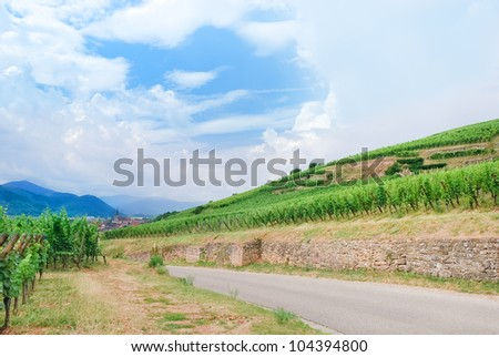 small town on Alsace Wine Route , France - stock photo