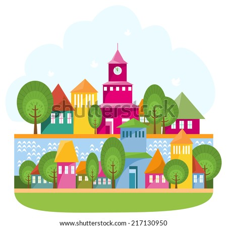 Small town on the river. Raster cartoon illustration of small cosy town staying along abstract river. - stock photo
