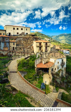 small town Savoca - the city of Godfather film, Sicily, Italy - stock photo