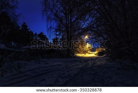 small-town street Russian winter night clear sky Yekaterinburg - stock photo