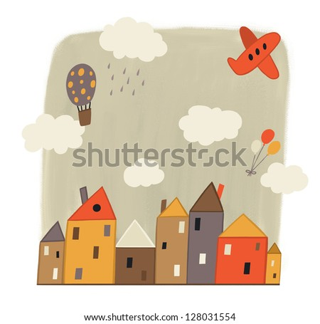 small town with colorful houses - stock photo