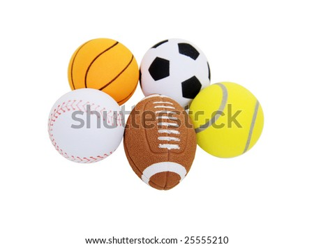 Small toy balls designating sports equipment