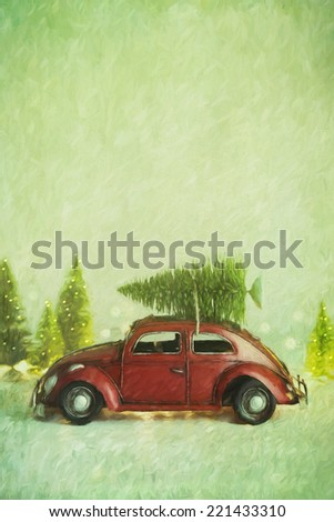 Small toy car with Christmas tree on top/ digital painting - stock photo