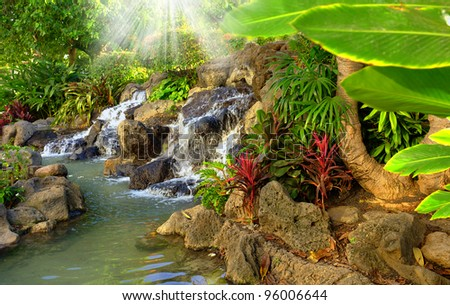 Small tropical garden waterfall