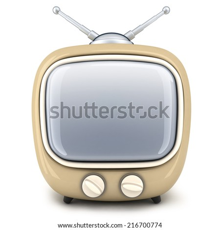 Small TV on a white background (done in 3d)     - stock photo