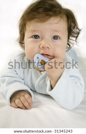 Small two-month-old baby isolated on white