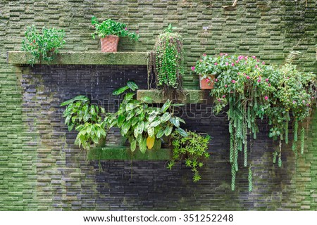 Small vertical garden with waterfall on stone bricks wall. - stock photo