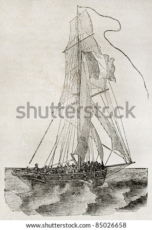 Small vessel sailing, side view. By unidentified author, published on Magasin Pittoresque, Paris, 1840