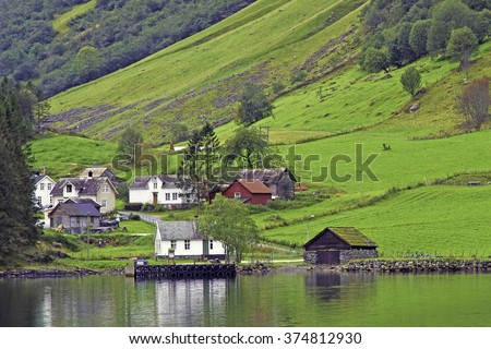 Small village and verdant green hillside on the shore of  Sognefjord fjord, Norway - stock photo