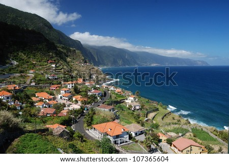 Small village at coast of madeira, portugal - stock photo