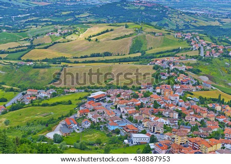 Small village at Republic of San Marino, Village in hilly countryside in Italy