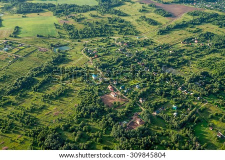 Small village at summer. Bird eye view - stock photo
