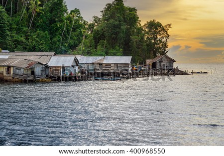 Small Village at sunset. Togean Islands or Togian Islands in the Gulf of Tomini. Central Sulawesi. Indonesia