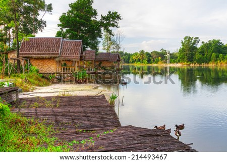 Small village at the pond in Thailand