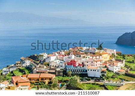 Small village, Atlantic ocean and rocks. Canary islands, Spain.