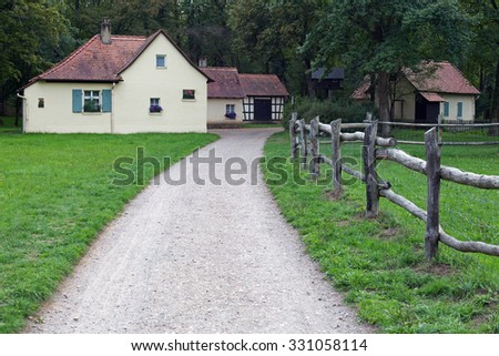 Small village in forest, public park Schoenbusch near Aschaffenburg