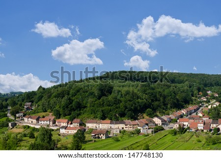 Small village in France. Saint-Quirin, France.  - stock photo