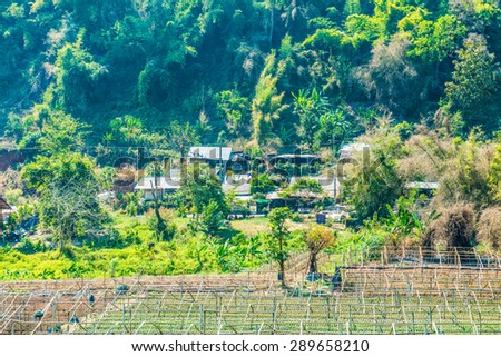 Small village in mountain, Thailand. - stock photo
