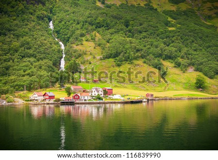 Small village in Naeroyfjord, Norway - stock photo