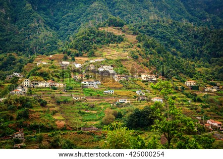 small village in the mountains of Madeira island, Portugal - stock photo