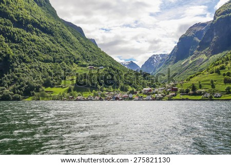 Small village in the mountains of the fjord, Norway