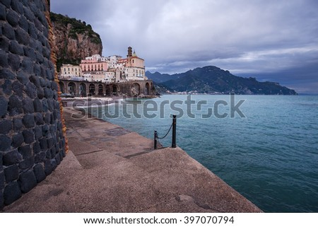 Small village of Atrani, on the famous Amalfi Coast in Campania, Italy