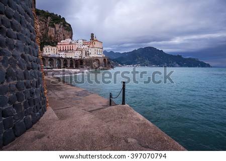 Small village of Atrani, on the famous Amalfi Coast in Campania, Italy - stock photo